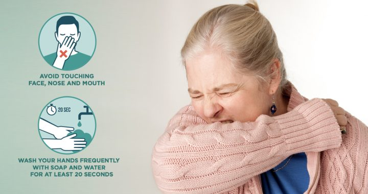 Women sneezing with list of tips to avoid touching your face, nose and mouth as well as wash your hands frequently.