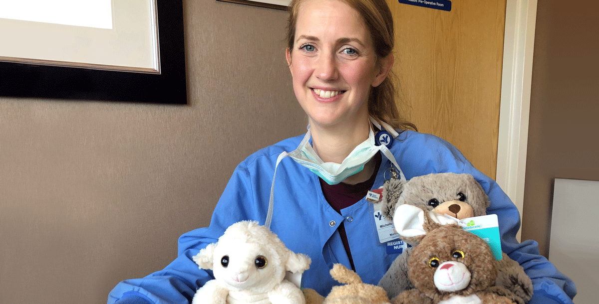 Michelle Vaughan, BSN, RN, with her Be There Bears.