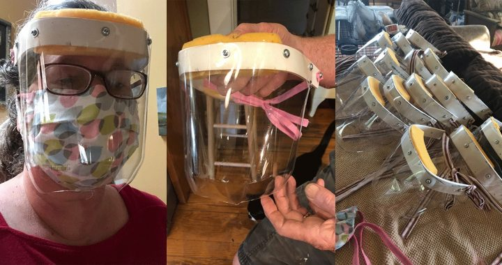 Elizabeth King modeling her face shield creations as she creates PPE during the COVID-19 outbreak