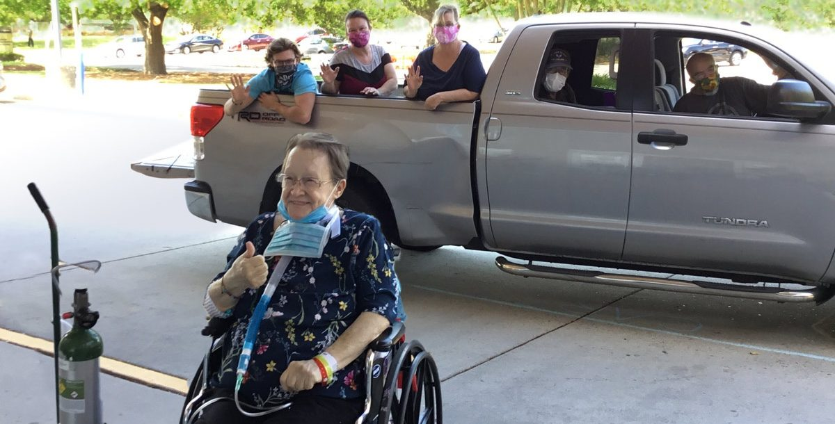Sandra Alford with her family during their drive-through visit during COVID-19