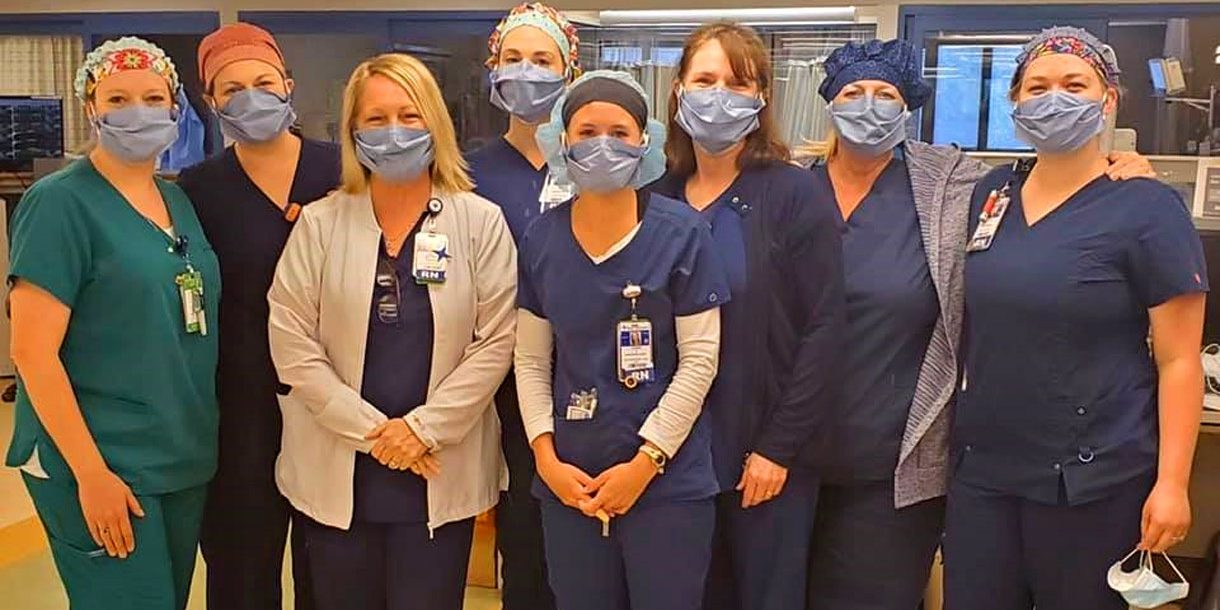 Bon Secours St. Francis nurses wearing masks donated by Heather.