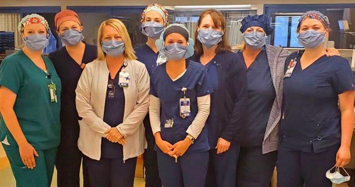 Bon Secours St. Francis nurses wearing masks donated by Heather.