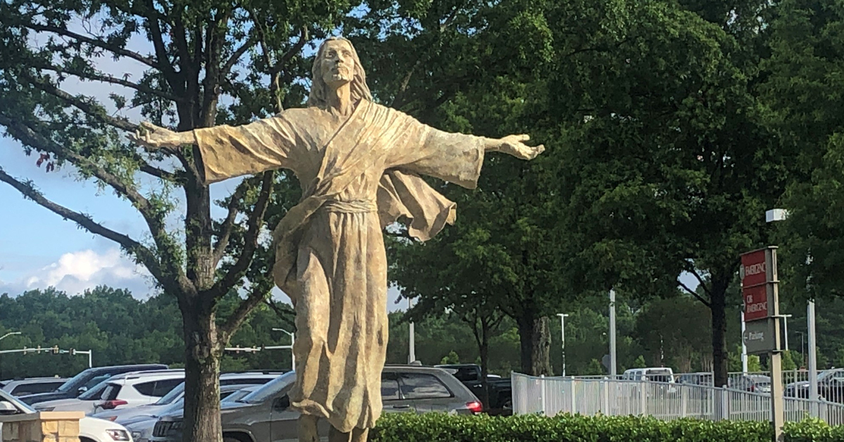 "The ""Ascending Christ"" statue on the Bon Secours St. Francis Eastside campus in Greenville, SC."