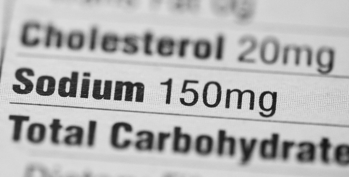 Sodium listed on a food nutrition label.