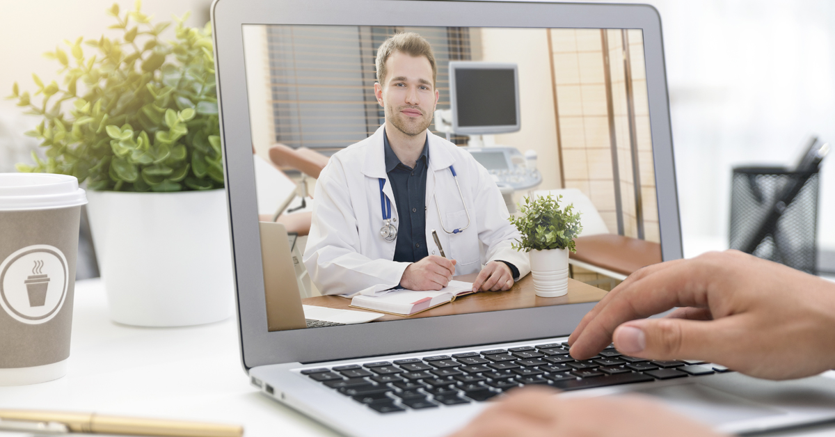 A patient participating in a virtual visit with their health care provider.
