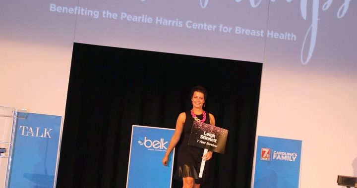 Leigh Stinnett modeling during last year's Pearls and Pumps event.