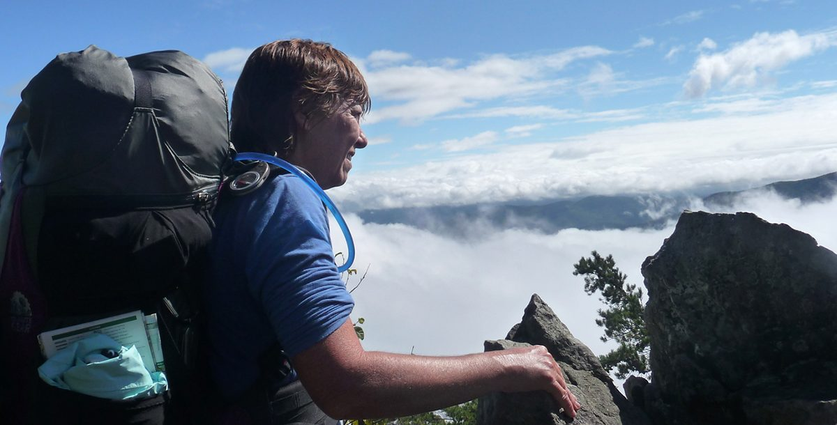 Sherry Adams on one of her hiking trips.