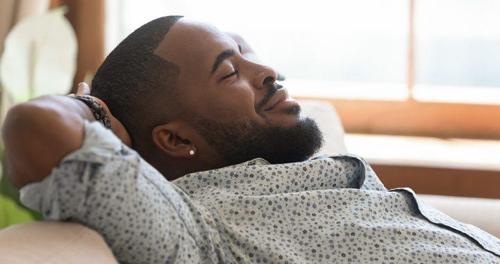 A man enjoying a restful nap.