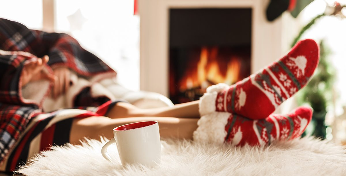 A woman relaxing during the holidays.