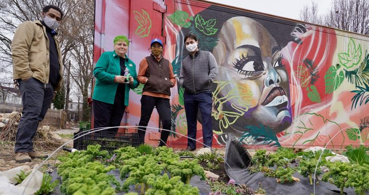 Sister Fran with members of our Food Access and Urban Farm Program.