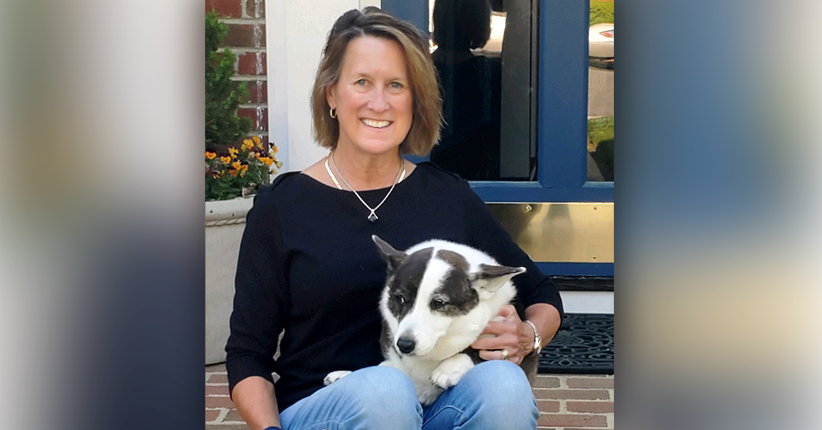 Beth Blair at home with Abby, her Cardigan Welsh Corgi