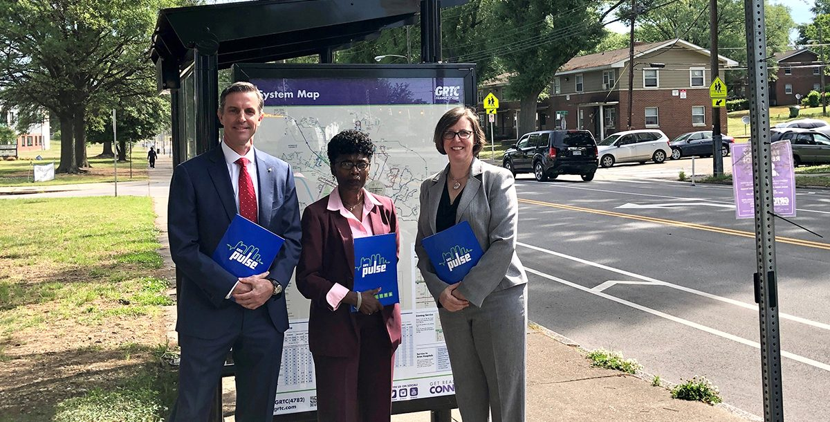 Richmond leadership at new bus shelter