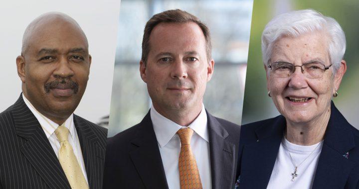 Dr. Samuel Ross, MD, John Starcher and Sr. Doris Gottemoeller, RSM