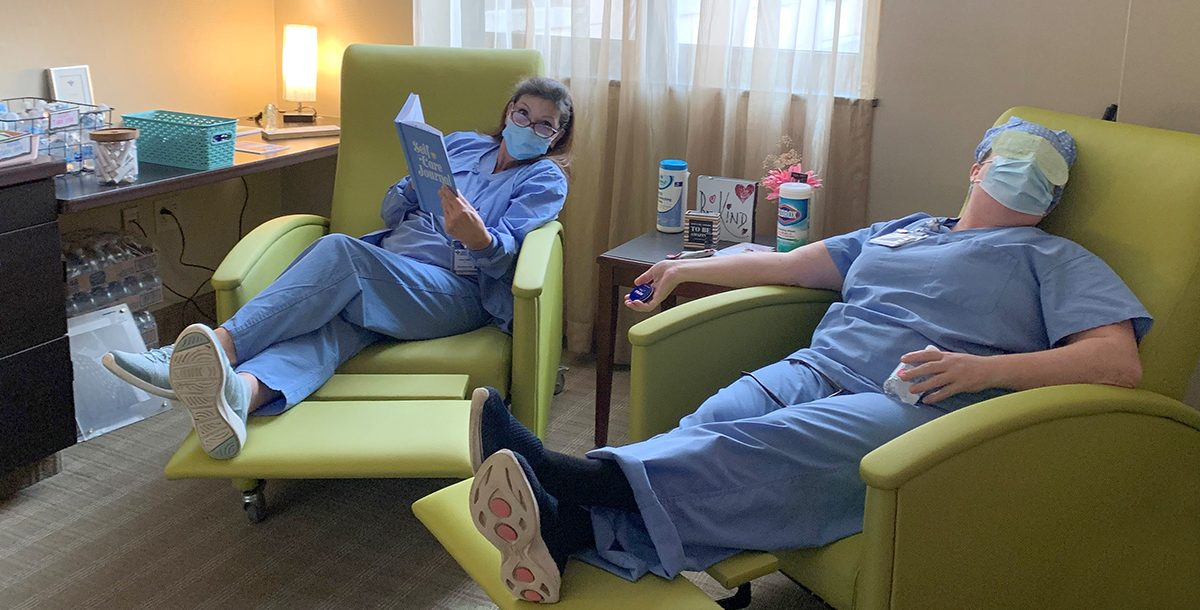 Two of our team members enjoying the Oasis Room at St. Mary's Hospital.