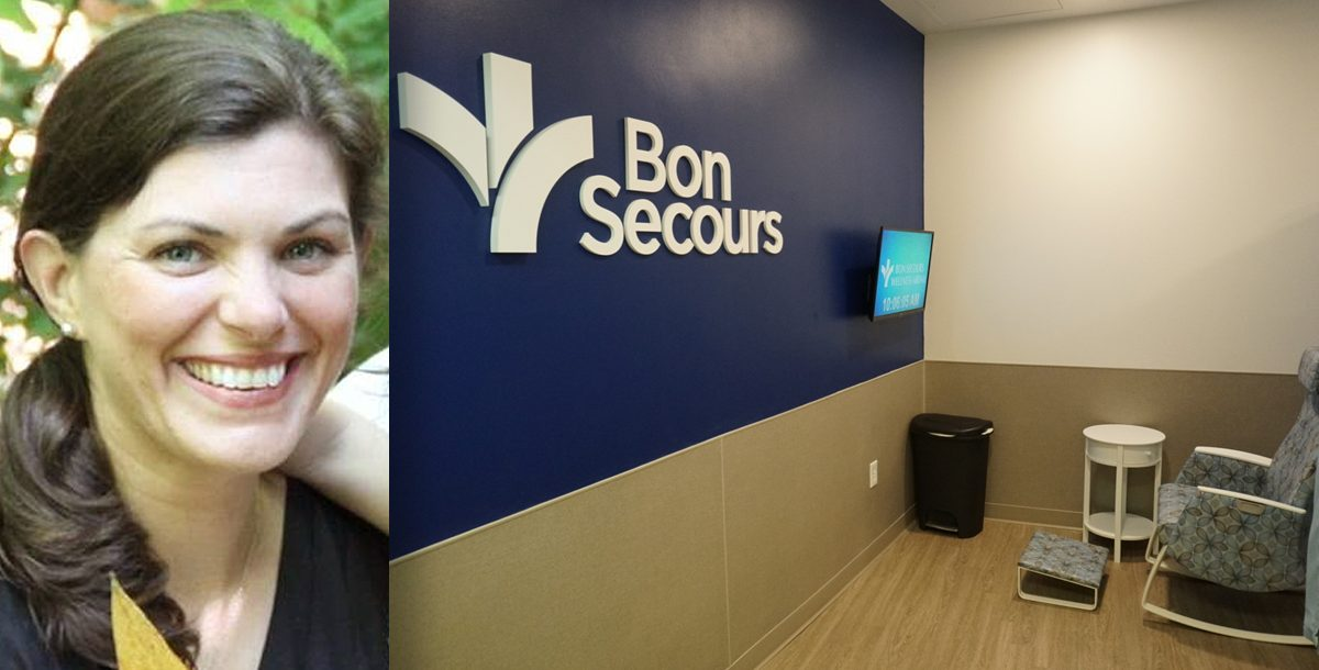 Mandy Schaub and the nursing suite at the Bon Secours Wellness Arena