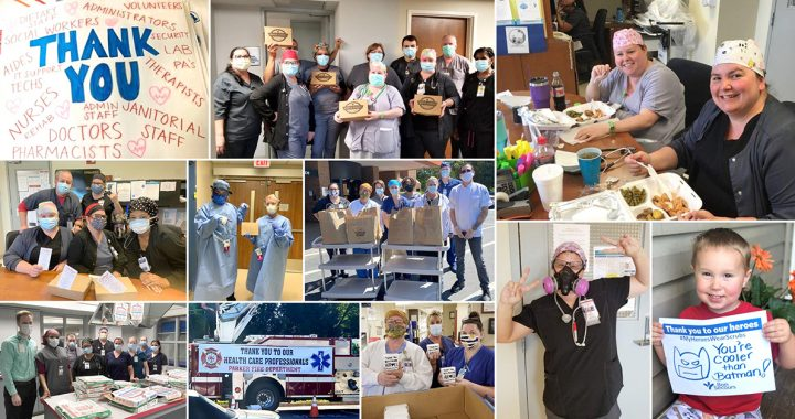 A collage of the different community donations received during COVID-19.