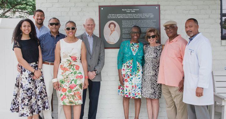The dedication ceremony for the tribute plaque