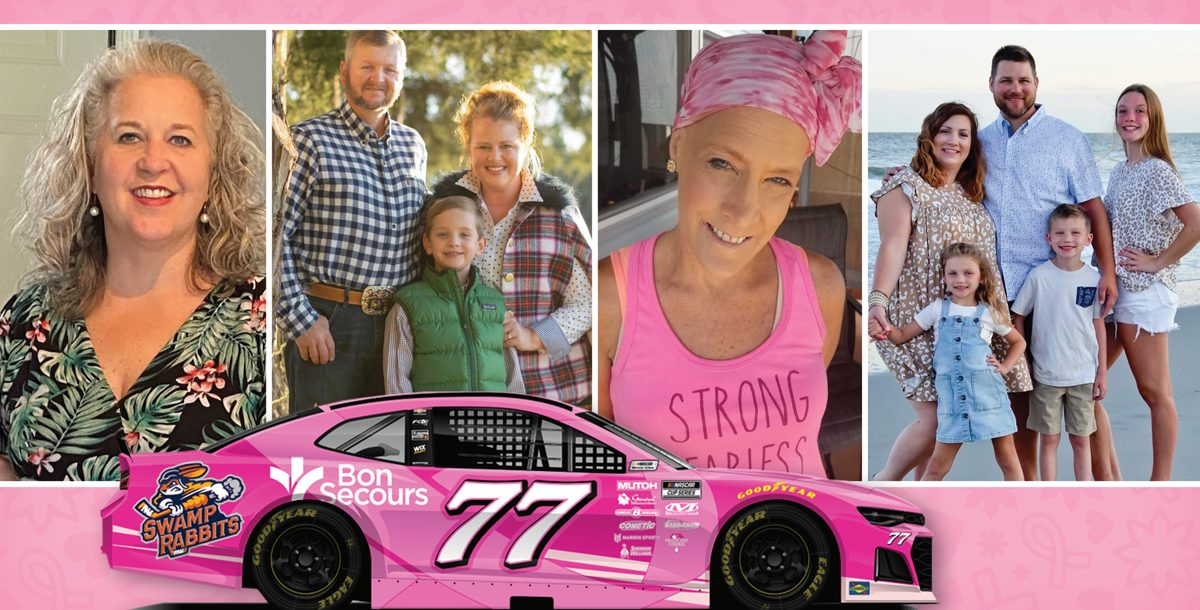 Some of the breast cancer survivors being featured on the NASCAR car.